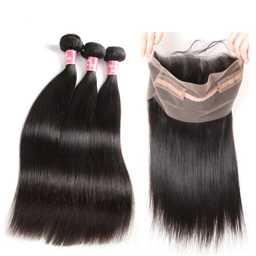 360 Lace Frontal With 3 Bundles Pre Plucked with Baby Hair Brazilian Hair Weave Straight Non