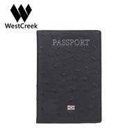 Westcreek Brand Ostrich Pattern Genuine Leather Passport Holder Fashion Passport Cover Case Cowhide Document Wallet Organizer