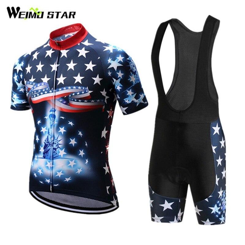 Weimostar 2018 pro équipe USA cyclisme Jersey ensemble course Sport vélo vêtements cyclisme vêtements vtt route vélo maillot Ropa Ciclismo