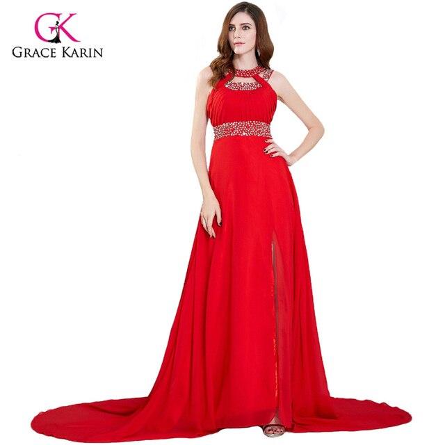 bf03ef6c710 Grace Karin Long Evening Dress 2018 Evening Party Wear Chiffon Side Slit Floor  Length Red Carpet Dress Sexy Women Formal Gowns