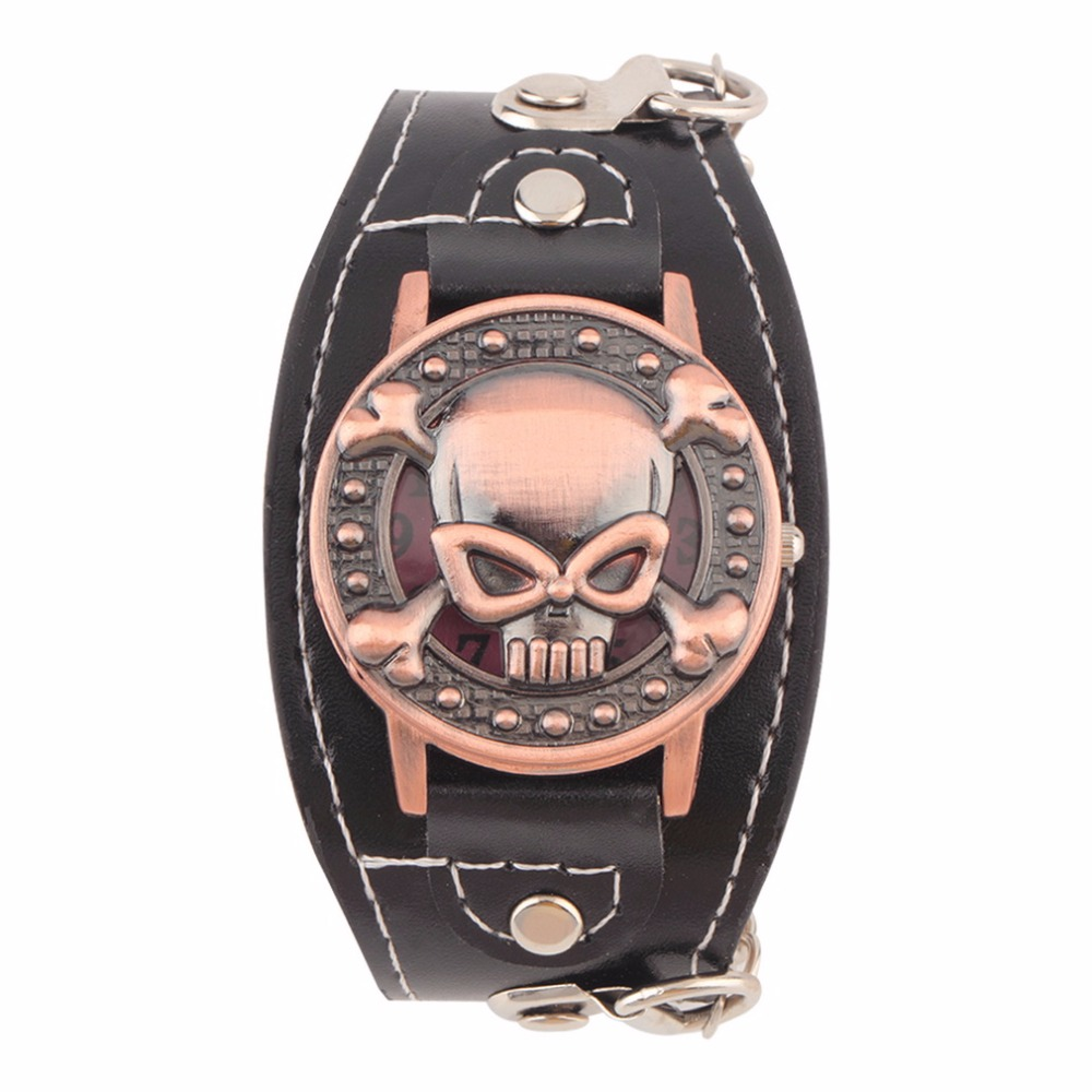 NEW Skull Cover Quartz Watch for Men Women PU leather Wristwatches Bracelet Watch Men's Biker Metal Relogio Masculino(China)