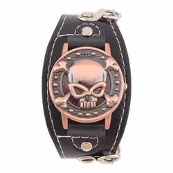 Новый чехол с черепом кварцевые часы для мужчин для женщин наручные часы с ремешком из искусственной кожи часы-браслет для мужчин Байкер