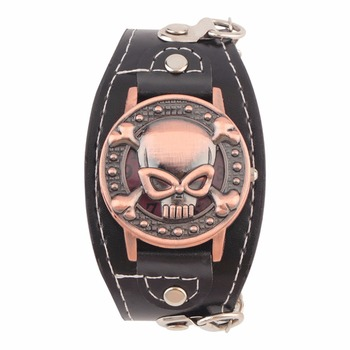 NEW Skull Cover Quartz Watch for Men Women PU leather Wristwatches Bracelet Watch Men's Biker Metal Relogio Masculino