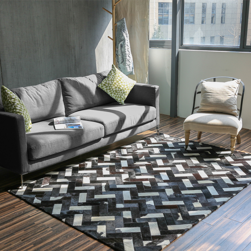 Luxury cowhide seamed rug modern natrual cowskin carpet - Black and white living room rug ...
