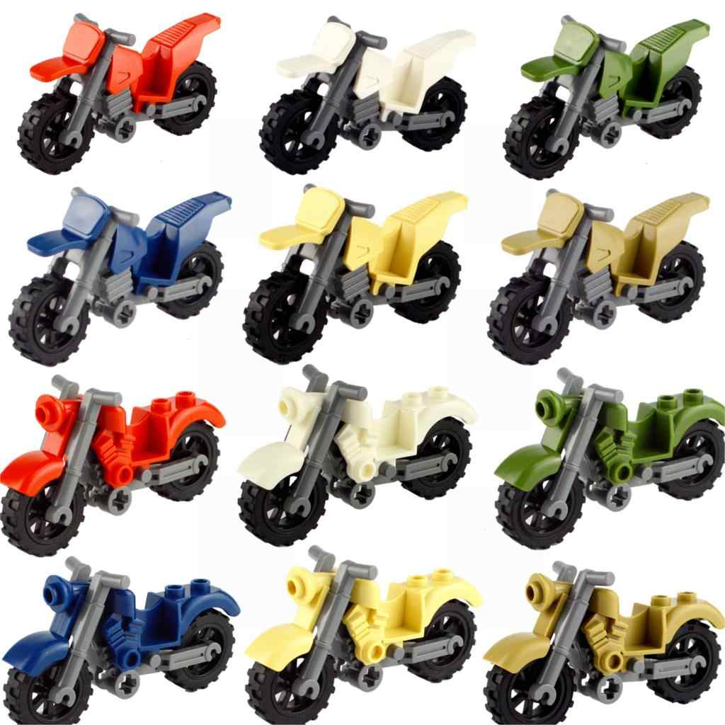Legoing City Blocks SWAT MOC Motor Vehicles Motorcycle Building Blocks Toys For Children Assemble City Legoing Motor Parts Toy