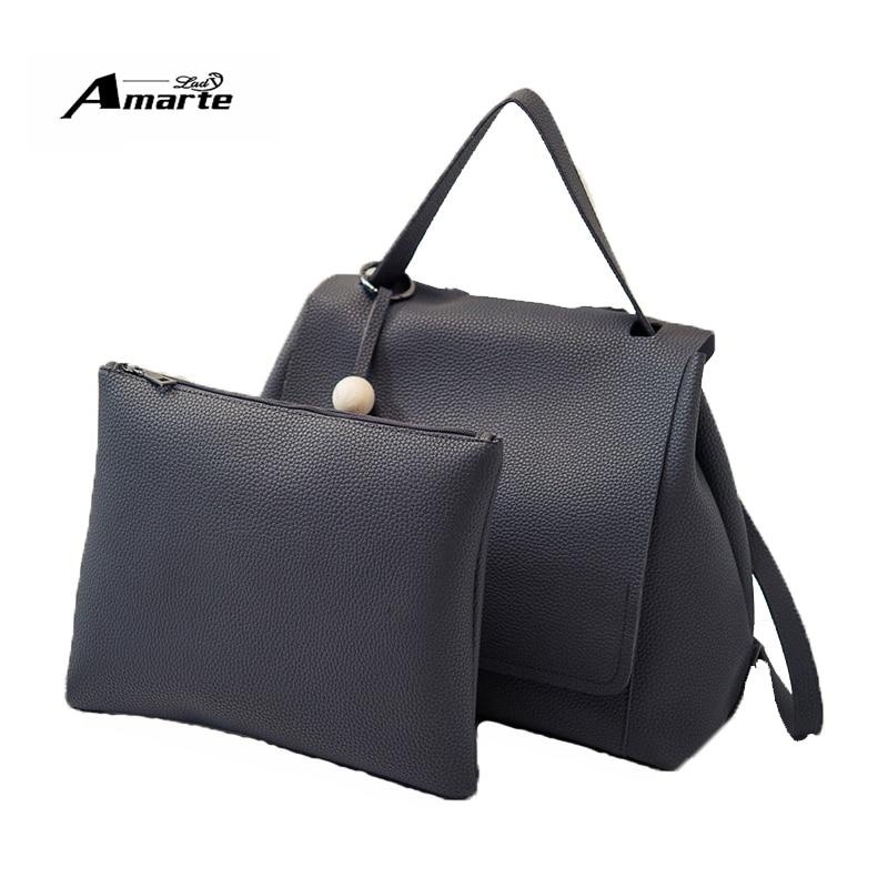 Amarte Brand 2pcs/set Women Backpack Fresh School Backpacks For Teenage Girls Bag Women Pu Leather Backpack Mochila