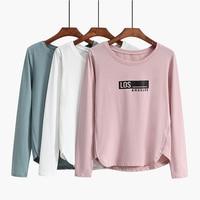 High Quality Women T Shirt O Neck Long Sleeve Letters Print T Shirts Female Plus Size