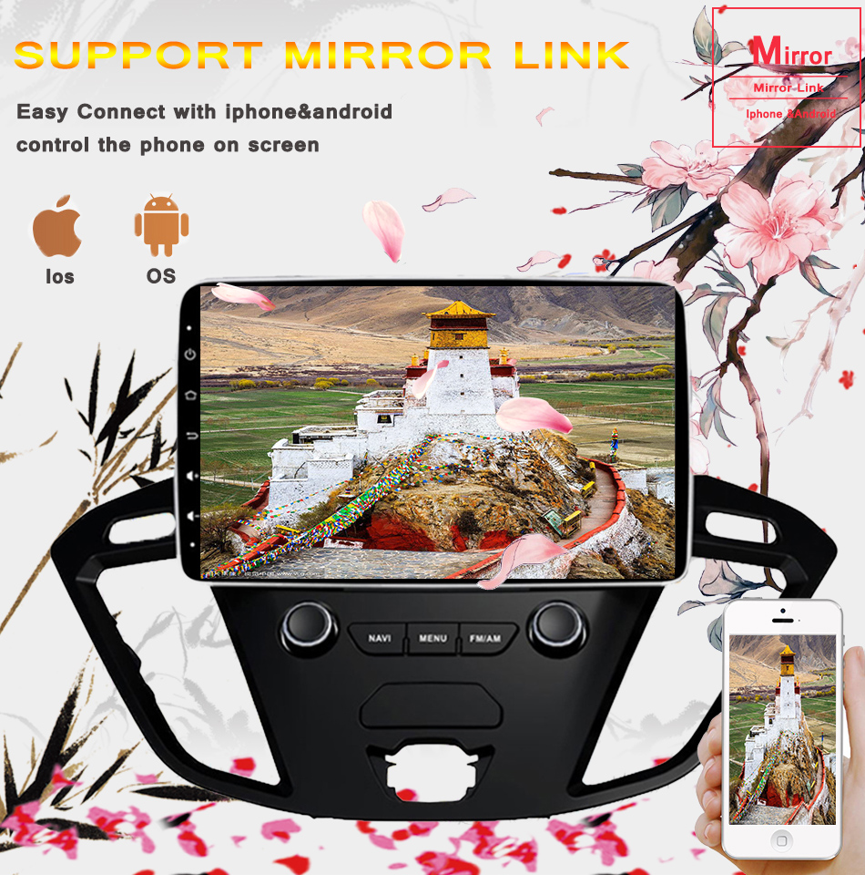 """Top 2Din 9""""Android 9.0 Car DVD Radio Player Fit Ford Transit Custom Tourneo 2013 - 2018 GPS Navigation 8Core 4G+364G WIFi Multimedia 7"""