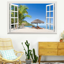 False window Beach Coconut tree 3D wall sticker PVC Material poster For Home background Decoration