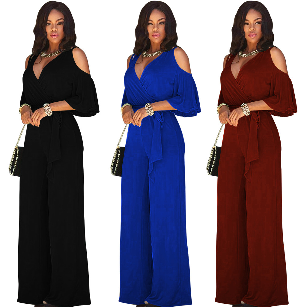 Women Casual   Jumpsuit   Short Sleeve Cold Shoulder Wide Leg High Waist V Neck Plus Size Overall Playsuit Fashion Summer Clothing