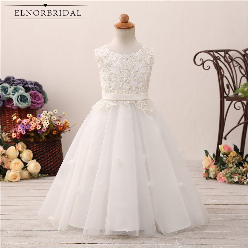 White/Ivory Lace   Flower     Girls     Dresses   2018 Floor Length Robe Mariage Enfant Custom Made Kids Wedding Party   Dress   Online