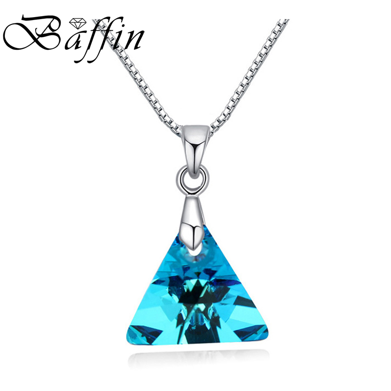 BAFFIN Triangle Pendant Necklace Crystals From SWAROVSKI Elements Silver Color Chain Necklaces For Women Kids Jewelry gorgeous faux gem triangle necklace for women