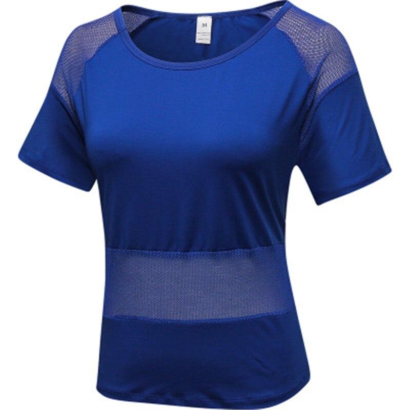 Купить с кэшбэком 2019 Sports Yoga T Shirt Women's Sportswear Mesh Female Sexy Short Sleeves Loose Gym Shirt White Quick Dry Fitness Running Tops