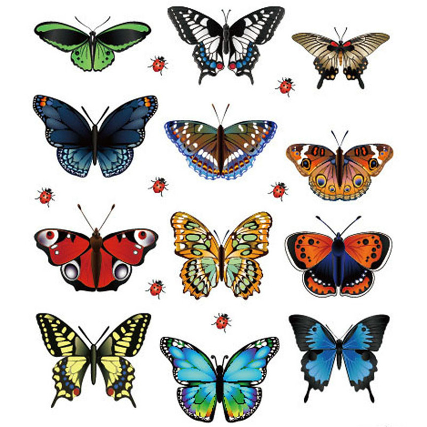 Wallpaper Sticker Landscaping Butterflies Decoration Heart Shaped 12 Butterfly Stickers Wallpapers For Living Room B#