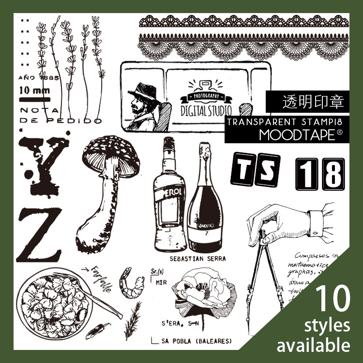 Moodtape Vintage Clear Stamp For DIY Scrapbooking/photo Album Decorative Transparent Stamp Mushroom Flowers Rubber Stamp Seal