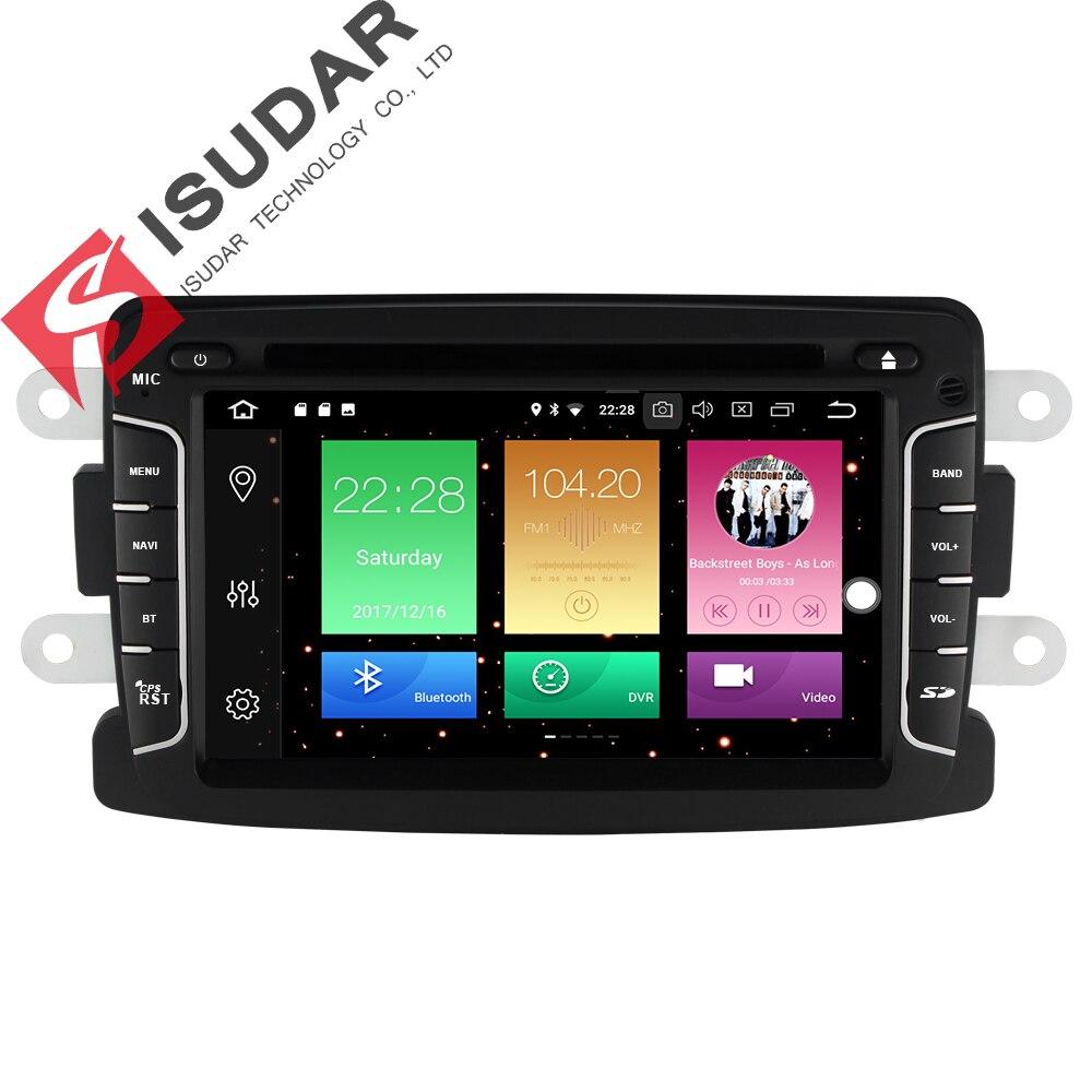 Isudar Voiture Multimédia lecteur GPS Android 8.0 Voiture Radio 1 Din Pour Renault/Dacia/Chiffon/Lada/ xray 2 Arrière Vue Caméra Microphone FM