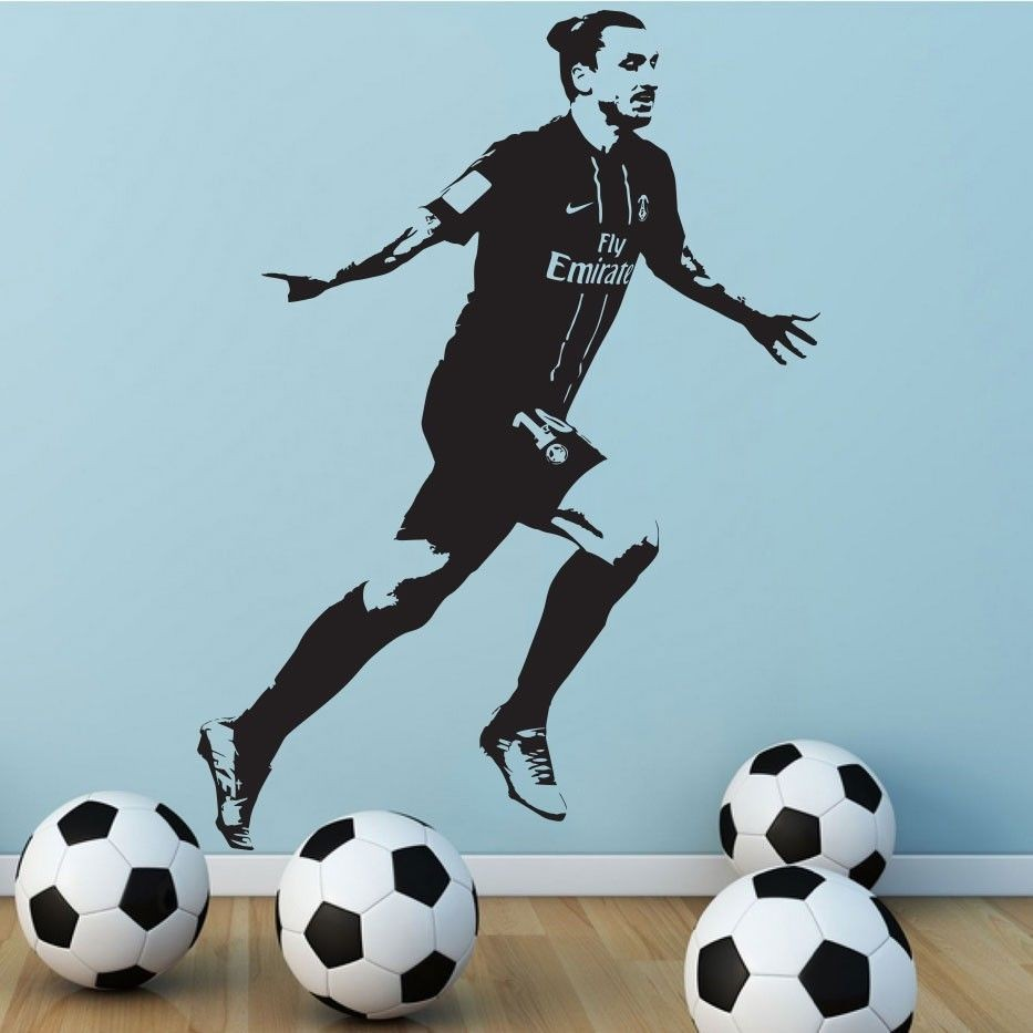 free shipping poster zlatan ibrahimovic psg soccer football vinyl wall sticker home decor for. Black Bedroom Furniture Sets. Home Design Ideas