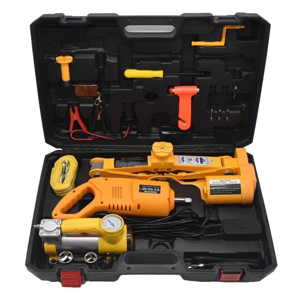 12v Dc 2 5t 5500lb Electric Car Jack Inflator Pump Impact Wrench And Wireless Remote Repair Tool Kit