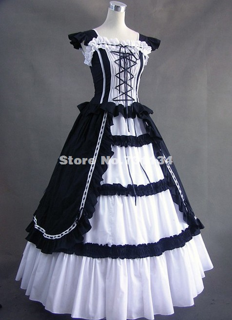 Black And White Cotton Victorian Gothic Dress Ball Gown Penny Dreadful Theatre Steampunk Clothing For Women In Dresses From Womens Accessories