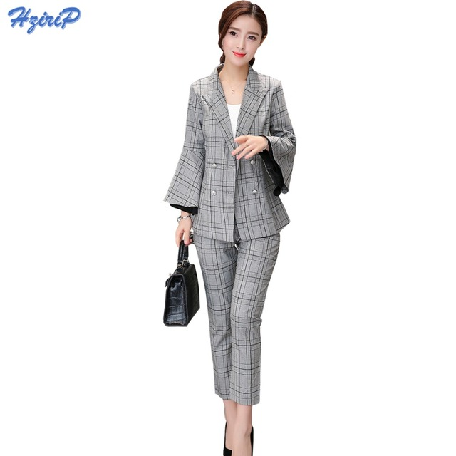 2017 Mujeres Trajes Formales de Oficina OL Conjunto Chaqueta A Cuadros  Chaqueta + Pantalones Traje Formal 654f7ab6e4a3