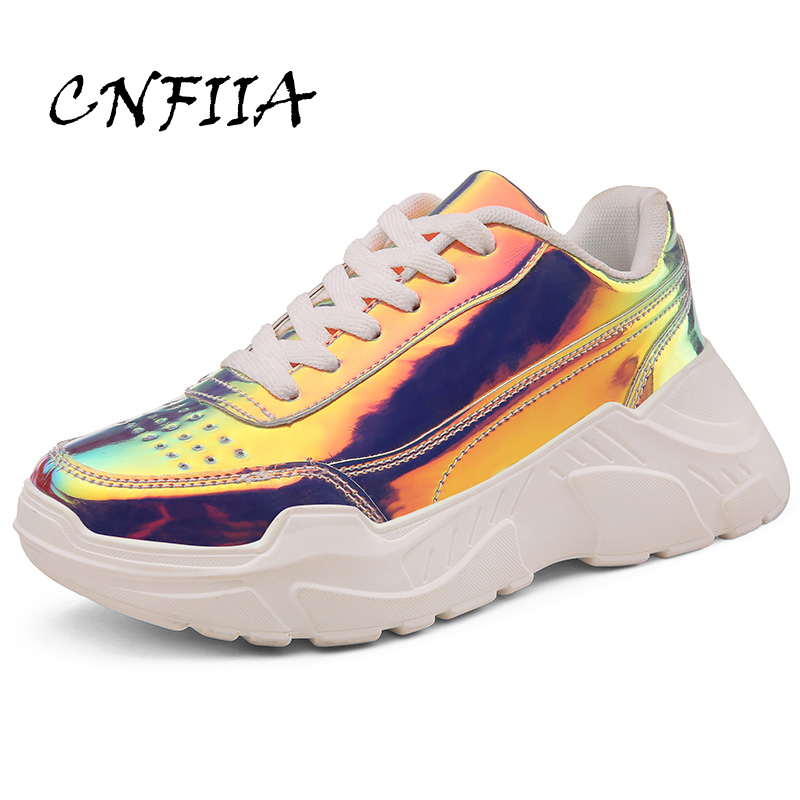 CNFIIA Sneakers Women Platform Shoes Sliver White Women