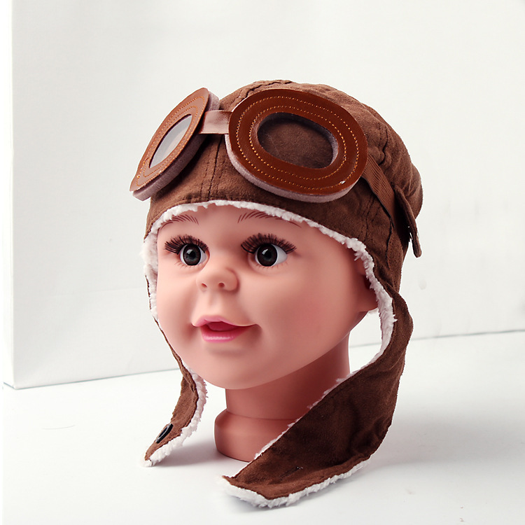 Winter Boys Girls Kids Pilot Aviator Warm Cap Hat Cartoon Printed Beanie Earflap