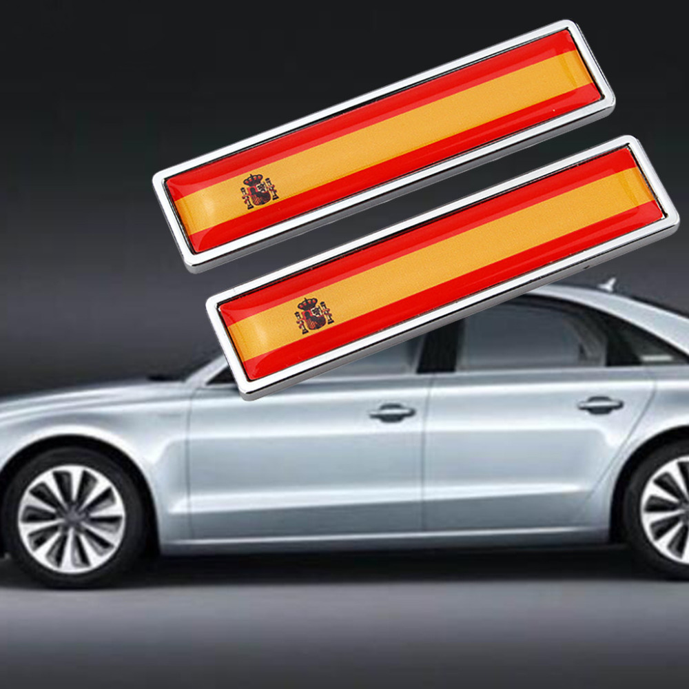 2019 New Generation Car Exterior Accessories National Flag Emblem DIY Metal Car Sticker Car Styling - Spain