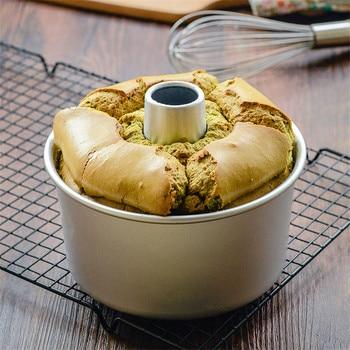 10 Zoll Aluminiumlegierung Runde Kuchen Pan Abnehmbaren Boden Hohl Kamin  Chiffon Backform Backformen Maker DIY Backen Kuchen Werkzeuge