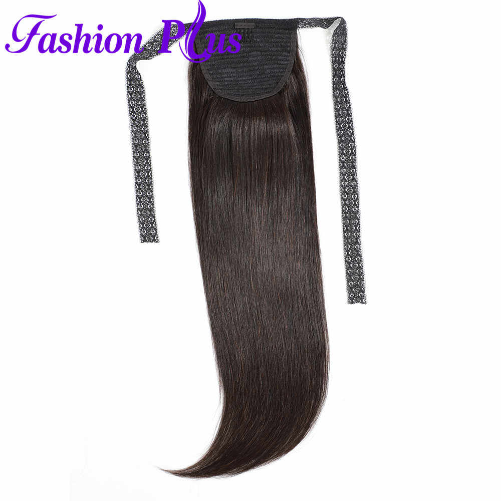 Fashion Plus Straight Ponytail Human Hair Clip In Extensions Brazilian Remy Natural Color Drawstring Ponytail