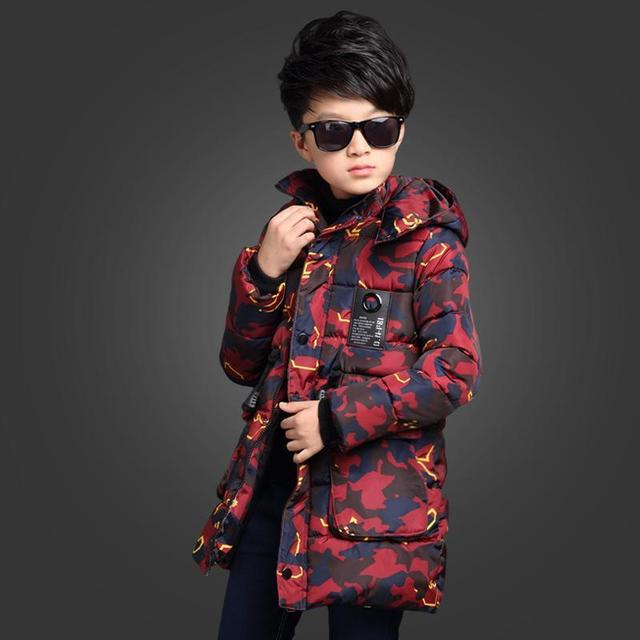 2016 New Boy Winter Coat Hooded Children Camouflage Down Baby Boy Winter Jacket Boys Kids Warm Outerwear Parks 5 to14 Years Sale