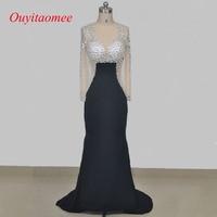 Custom Made Real Picture O Neckline Black Floor Length Crystal Evening Dress 2017 Long Sleeve