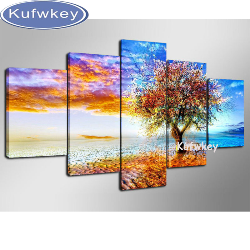 5pcs/set 5d diamond embroidery kits 3d cross stitch diamond painting season trees home decor diamond mosaic paintings triptych5pcs/set 5d diamond embroidery kits 3d cross stitch diamond painting season trees home decor diamond mosaic paintings triptych