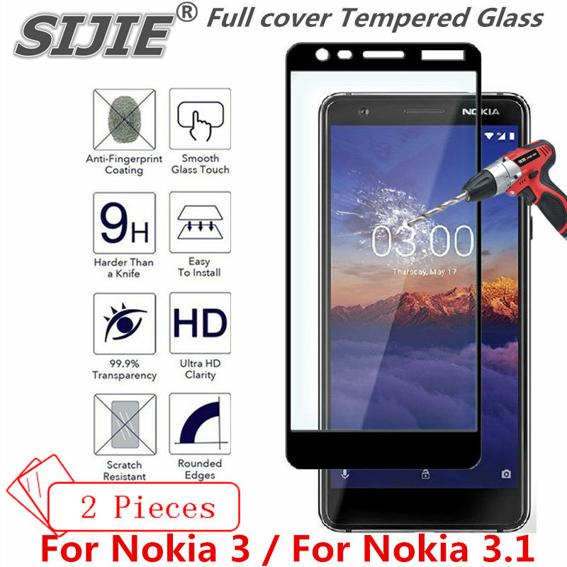 2 pcs Full cover Tempered Glass For Nokia 3 3.1 2018 screen protective case 9H toughened black frame all edges on smartphone