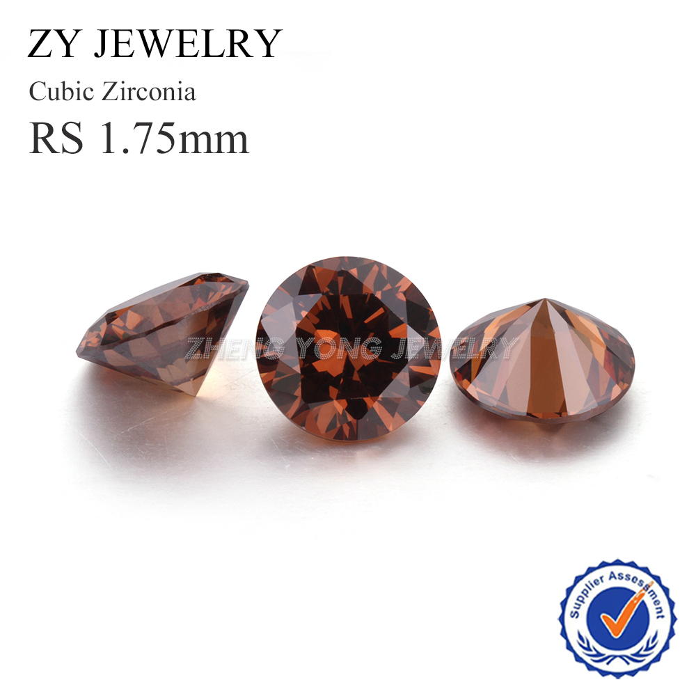 1000pcs 1.75mm Loose Cubic Zirconia 1.75mm Round Brilliant Cut Coffee Synthetic CZ Stone For Jewelry DIY