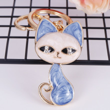 RE Cute cat crystal rhinestone keyrings big eyes beauty kitten key chains rings holder purse bag for car lovely keychains K40
