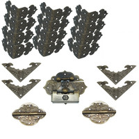 Chinese Vintage Brass Lock Set Fit for 20cm Wooden Box,Vase Buckle Wooden Box Hasp Latch Lock+Hinge+Bat Corner