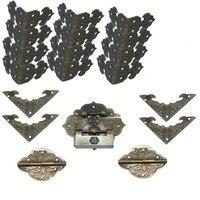 Chinese Vintage Brass Lock Set Fit for 20cm Wooden Box,Vase Buckle Wooden Box Hasp Latch Lock+Hinge+Bat Corner