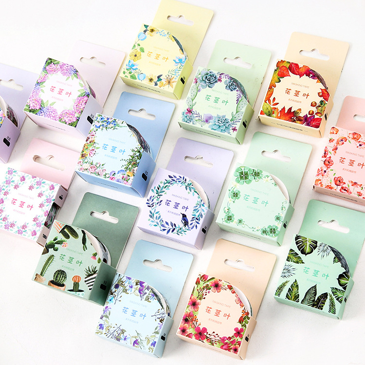 Beautiful Flowers Green Plants Washi Tape Adhesive Tape DIY Scrapbooking Sticker Label Masking Tape shading color washi tape adhesive tape diy scrapbooking sticker label masking tape