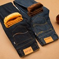 Sulee Mens Winter Thicken Slim Straight Denim Jeans Warm Fleece Jean Pants Men Cashmere Business Trousers Size 36 38 40 42