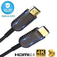 HDMI2.0 optik Fiber HDMI kablosu 4K 60Hz 18G HDR 4:4:4 10M 15M 20M 30M 50M 100M HD TV kutusu LCD projektör Laptop PS4 bilgisayar