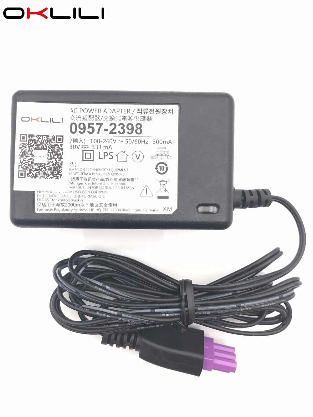 0957-2290 0957-2286 0957-2398 AC Power Adapter Charger 100-240 V 50/60 Hz 300 mA 30 V 333 mA para HP Deskjet 1050 1000 2050 2000 2060