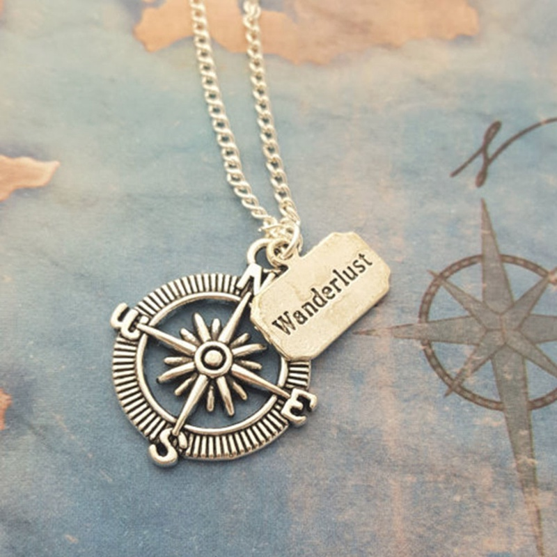 Romantic Valentines Day Gift Travel Compass Pendant Necklace For Men Women Couple