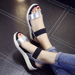 2019 nouvelle offre spéciale sandales femmes été sans lacet chaussures Peep-toe chaussures plates sandales romaines Mujer Sandalias dames tongs sandale