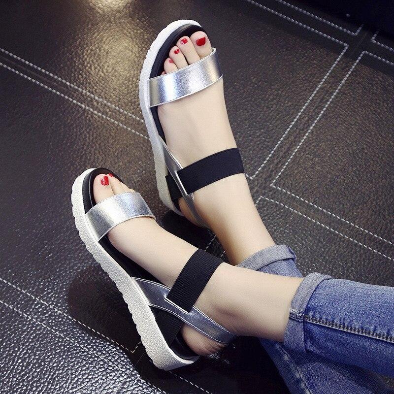 2019 nueva oferta Sandalias de verano para Mujer zapatos planos de Punta abierta Sandalias romanas Mujer Sandalias Mujer flip Flops sandalias