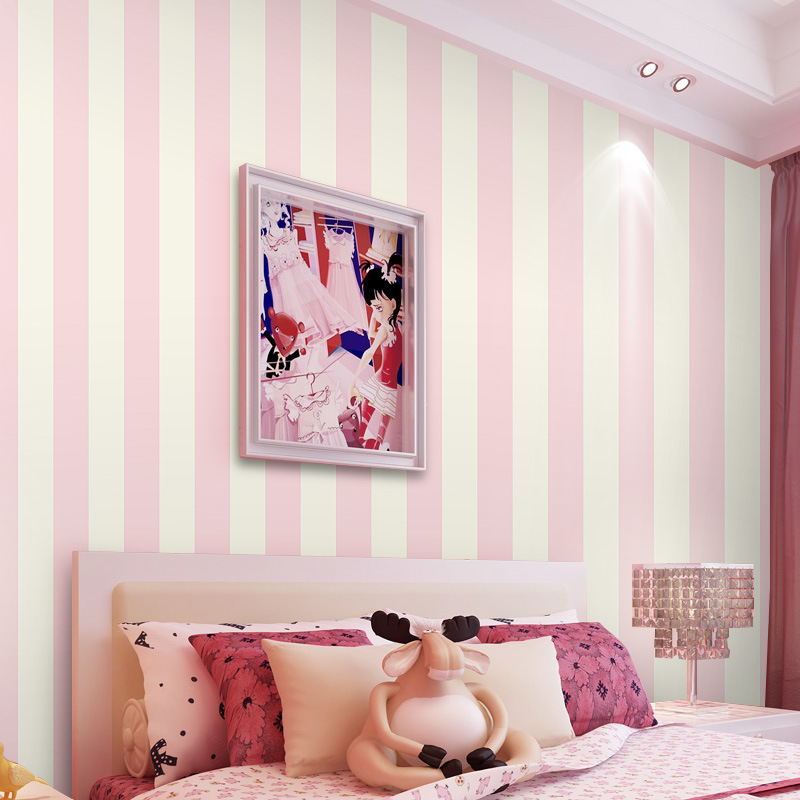 beibehang Simple vertical striped wallpaper non-woven wallpaper warm living room bedroom children's room princess pink wallpaper beibehang warm pink girl room wallpaper children s room non woven three dimensional love childrens clothing shop wallpaper
