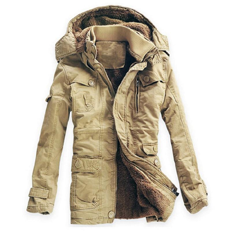 Hiver veste hommes décontractée Velours Épais veste chaude Anti Gel Parkas Hombre Mens Coton Armée veste à capuche Longue trench-coat