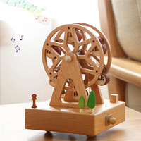 Wooden Music Box Kawaii Carousel Musical Boxes Wood Crafts Retro Birthday Gift Vintage Home Decoration
