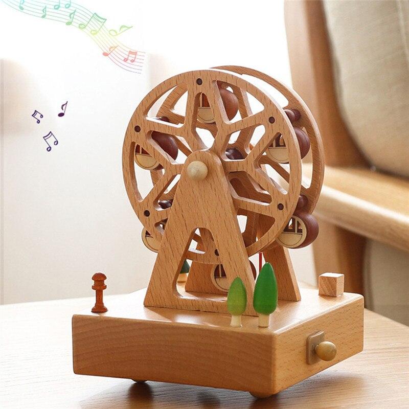 Boîte à musique en bois Kawaii carrousel boîtes à musique en bois artisanat rétro cadeau d'anniversaire Vintage décoration de la maison
