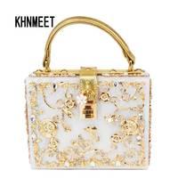 Fashion Prom Evening Bag Diamond Flower Clutch Bag Hollow Relief Acrylic Luxury Handbag Banquet Party Purse