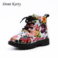 Domi Ketty Cute Girls Boots Fashion Flowers Princess Shoes Elegant Floral Print Kids Martin Boots Casual